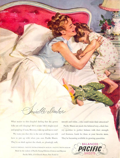Pacific Sheets Sociable Climber Girl 1946 | Vintage Ad and Cover Art 1891-1970