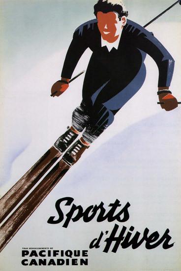Pacifique Canadien Canada Sports D Hiver   Vintage Travel Posters 1891-1970