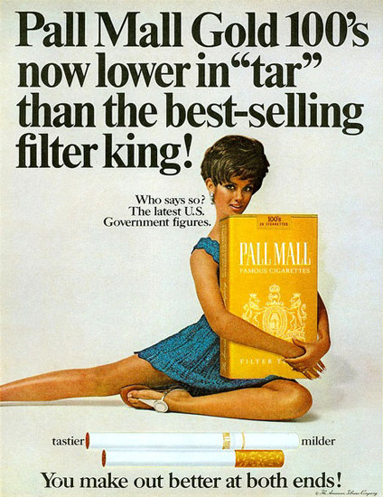 Pall Mall Gold 100s Lower In Tar Girl 1969 | Sex Appeal Vintage Ads and Covers 1891-1970