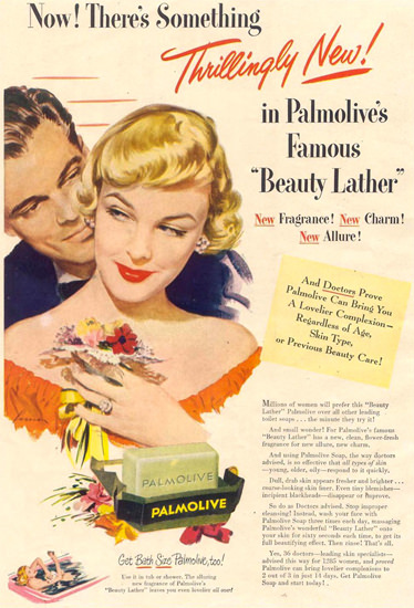 Palmolive Soap Beauty Lather 1949   Sex Appeal Vintage Ads and Covers 1891-1970