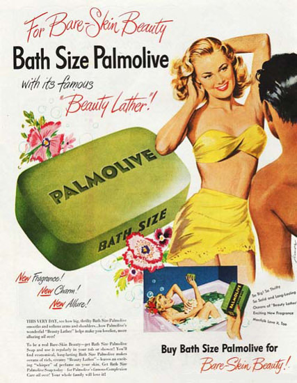 Palmolive Soap Bikini Girl Bare-Skin Beauty Lather | Sex Appeal Vintage Ads and Covers 1891-1970