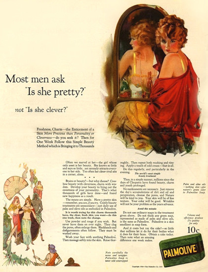 Palmolive Soap Most Men Ask Is She Pretty | Sex Appeal Vintage Ads and Covers 1891-1970