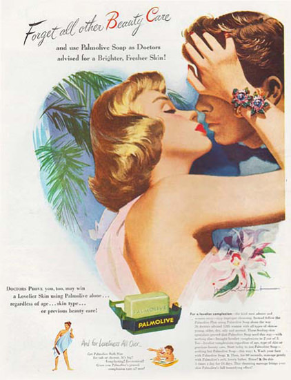 Palmolive Soap The Kiss Forget All Other | Sex Appeal Vintage Ads and Covers 1891-1970