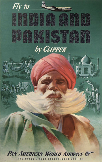 Pan Am India And Pakistan By Clipper 1950s | Vintage Travel Posters 1891-1970