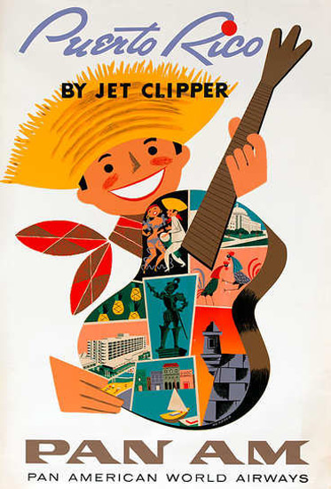 Pan Am Puerto Rico By Jet Clipper 1960s | Vintage Travel Posters 1891-1970
