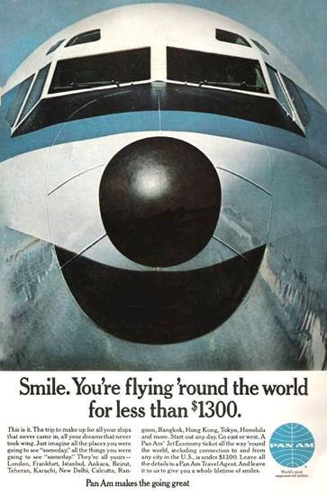 Pan Am Smile Flying Round The World 1968 | Vintage Travel Posters 1891-1970