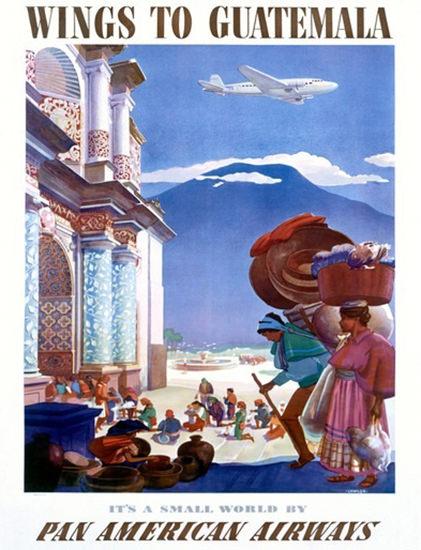 Pan America Airways Wings To Guatemala | Vintage Travel Posters 1891-1970