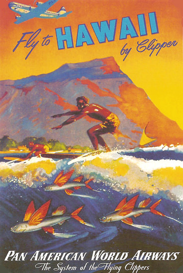 Pan America Hawaii  Flying Clipper System   Vintage Travel Posters 1891-1970