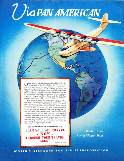 Pan America Plan Your Air Travel Now | Vintage Travel Posters 1891-1970