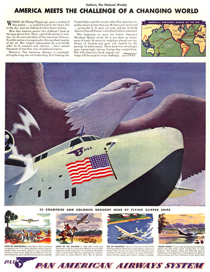 Pan American Airways A Changing World 1940 | Vintage Travel Posters 1891-1970