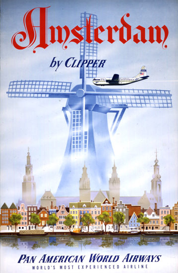 Pan American Airways Amsterdam Clipper 1951 | Vintage Travel Posters 1891-1970
