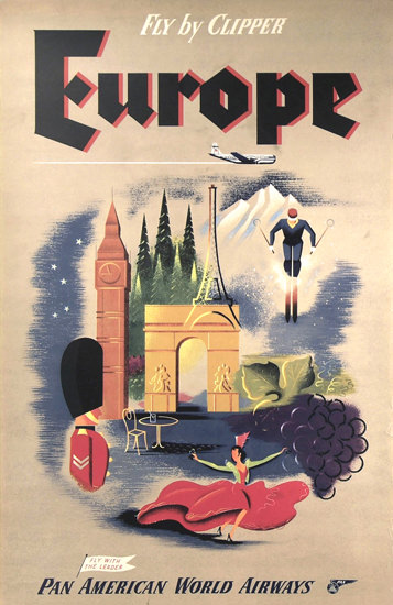 Pan American Airways Europe By Clipper 1950s | Vintage Travel Posters 1891-1970