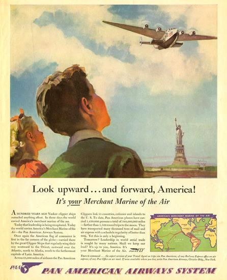 Pan American Airways Look Upward America | Vintage Travel Posters 1891-1970