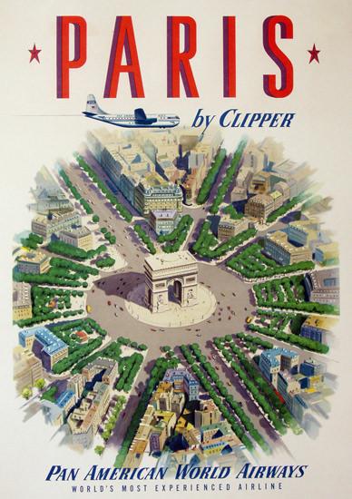 Pan American Airways Paris By Clipper 1951 | Vintage Travel Posters 1891-1970