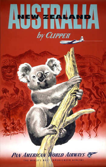 Pan American Australia New Zealand 1950s | Vintage Travel Posters 1891-1970