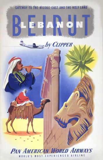 Pan American Beirut Lebanon By Clipper 1950s | Vintage Travel Posters 1891-1970