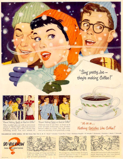 Pan-American Coffee Bureau Singing Pretty 1950 | Vintage Ad and Cover Art 1891-1970