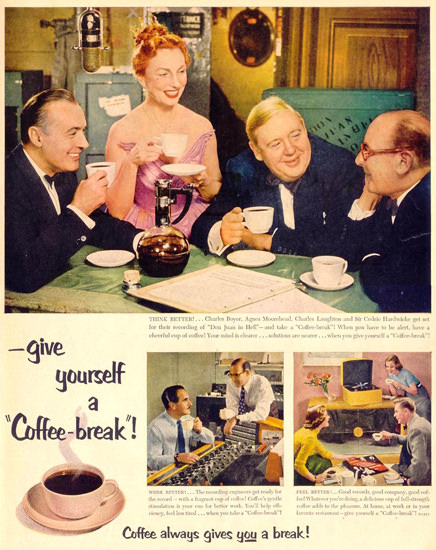 Pan-American Coffee Charles Laughton 1953 | Vintage Ad and Cover Art 1891-1970