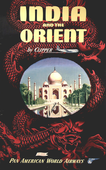 Pan American India Orient By Clipper 1950s | Vintage Travel Posters 1891-1970