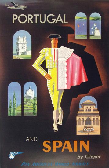 Pan American Portugal Spain Torero 1950s   Vintage Travel Posters 1891-1970