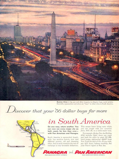Panagra And Pan American South America 1956 | Vintage Travel Posters 1891-1970