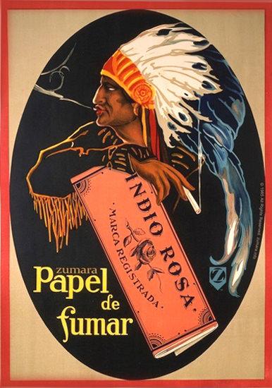 Papel De Fumar Indio Rosa Cigarette Paper | Vintage Ad and Cover Art 1891-1970