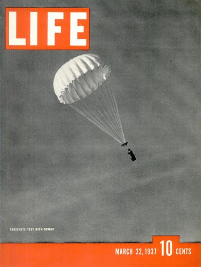 Parachute Test Dummy 22 Mar 1937 Copyright Life Magazine | Life Magazine BW Photo Covers 1936-1970