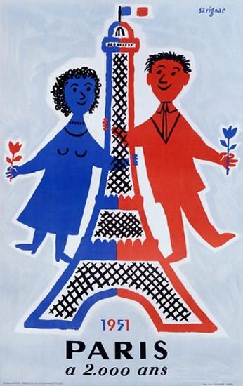 Paris A 2000 Ans 1951 Millennium 2000 Years | Vintage Travel Posters 1891-1970