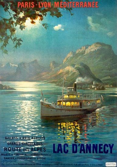 Paris-Lyon-Mediterranee Lac D Annecy Des Alpes | Vintage Travel Posters 1891-1970