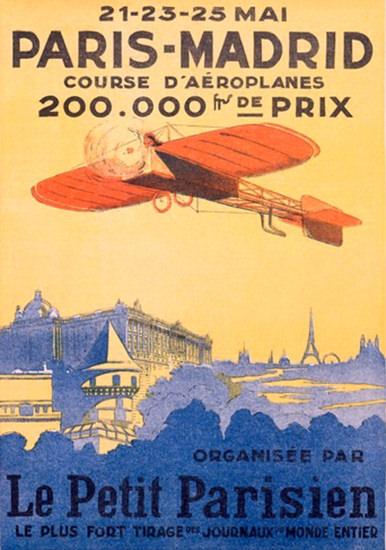 Paris-Madrid Course D Aeroplanes Petit Parisien | Vintage Travel Posters 1891-1970