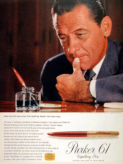 Parker 61 Fountain Capillary Pen 1957 Fills Itself | Vintage Ad and Cover Art 1891-1970