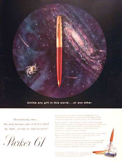 Parker 61 Fountain Pen 1957 Milky Way | Vintage Ad and Cover Art 1891-1970