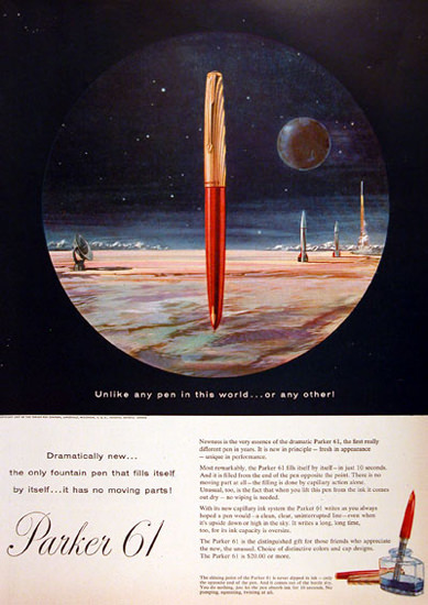 Parker 61 Fountain Pen 1957 Rocket Launch | Vintage Ad and Cover Art 1891-1970