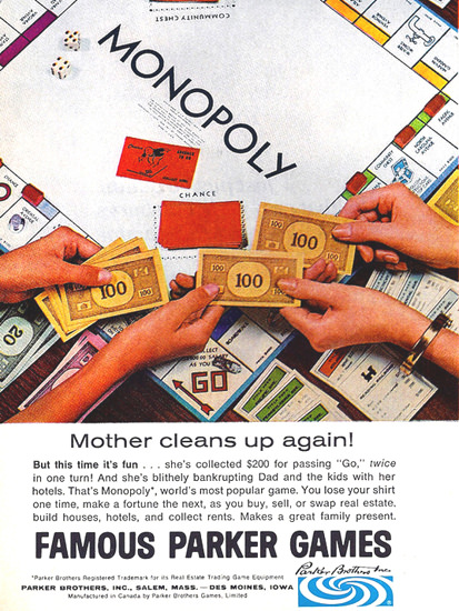 Parker Games Monopoly 1967   Vintage Ad and Cover Art 1891-1970