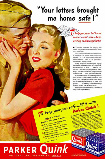 Parker Quink Your Letters Brought Me Home | Sex Appeal Vintage Ads and Covers 1891-1970