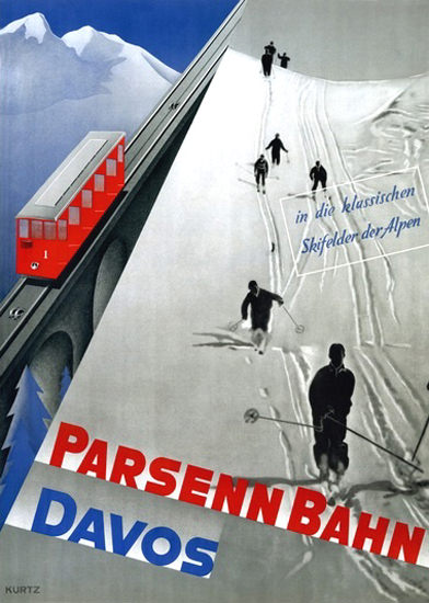 Parsennbahn Davos Switzerland Mountain Rail | Vintage Travel Posters 1891-1970