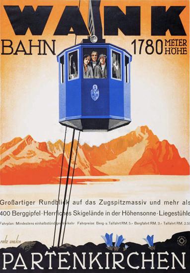 Partenkirchen 1930 Wank Bahn 1780m | Vintage Travel Posters 1891-1970
