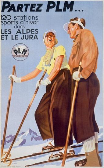Partez PLM Les Alpes Et Le Jura Skiing Alps   Vintage Travel Posters 1891-1970
