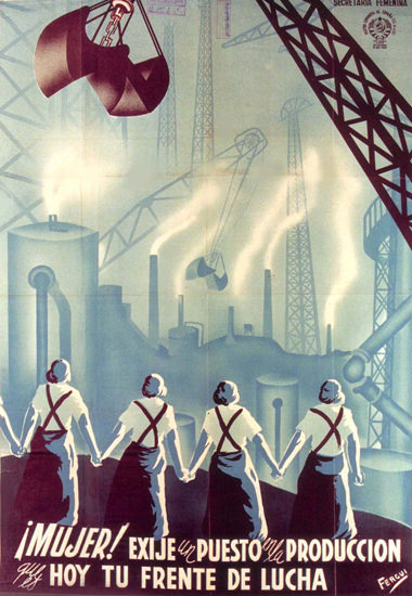 Partido Comunista De Espana Women Industry | Vintage War Propaganda Posters 1891-1970