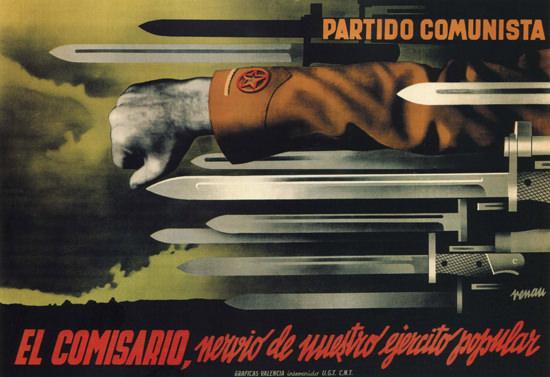 Partido Comunista El Comisario Spain Espana | Vintage War Propaganda Posters 1891-1970