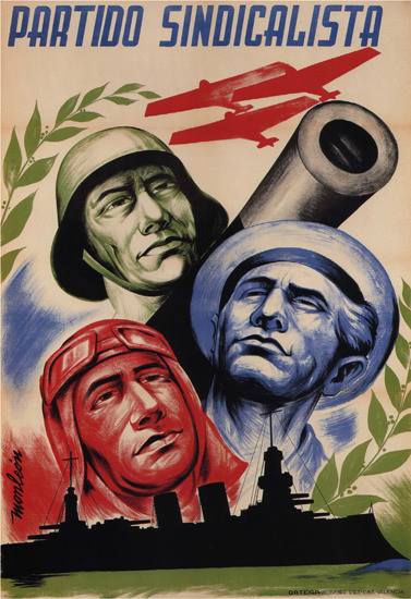 Partido Sindicalista Spain Espana Airplanes Battle | Vintage War Propaganda Posters 1891-1970
