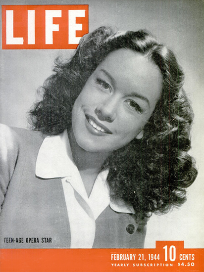 Patrice Munsel Opera Star 21 Feb 1944 Copyright Life Magazine | Life Magazine BW Photo Covers 1936-1970