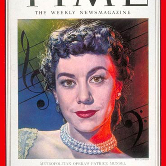 Patrice Munsel Time Magazine 1951-12 by Boris Chaliapin crop | Best of Vintage Cover Art 1900-1970