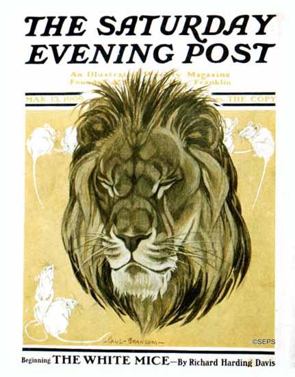 Paul Bransom Artist Saturday Evening Post Lion and Mice 1909_03_13 | The Saturday Evening Post Graphic Art Covers 1892-1930