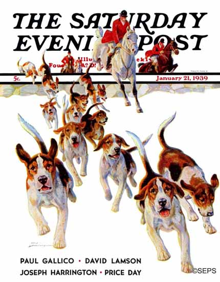 Paul Bransom Saturday Evening Post After the Scent 1939_01_21 | The Saturday Evening Post Graphic Art Covers 1931-1969