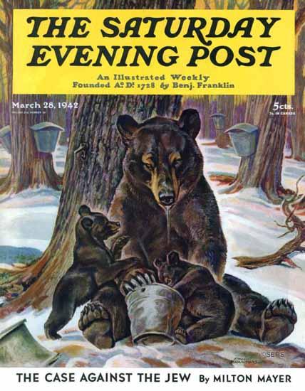 Paul Bransom Saturday Evening Post Bears on Maple Syrup 1942_03_28   The Saturday Evening Post Graphic Art Covers 1931-1969