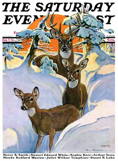 Paul Bransom Saturday Evening Post Deer in Snow 1931_02_07 | The Saturday Evening Post Graphic Art Covers 1931-1969