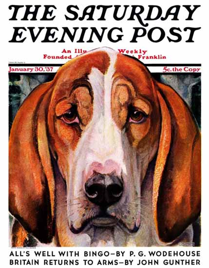 Paul Bransom Saturday Evening Post Nothing But Hounddog 1937_01_30 | The Saturday Evening Post Graphic Art Covers 1931-1969