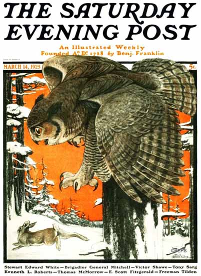 Paul Bransom Saturday Evening Post Owl and Rabbit 1925_03_14 | The Saturday Evening Post Graphic Art Covers 1892-1930