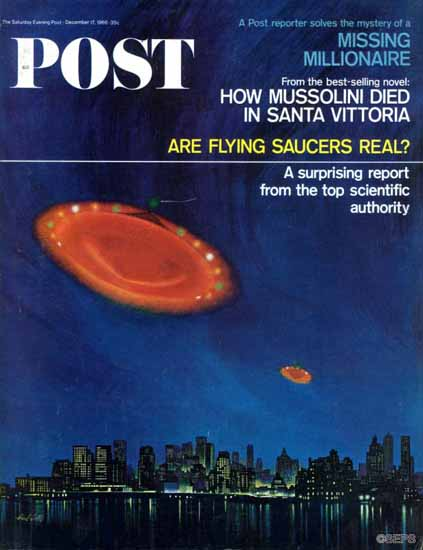 Paul Calle Saturday Evening Post Are Flying Saucers Real 1966_12_17 | The Saturday Evening Post Graphic Art Covers 1931-1969